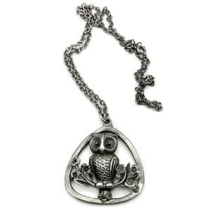 VTG 1970s Hoot Couture Pewter Owl Pendant Necklace